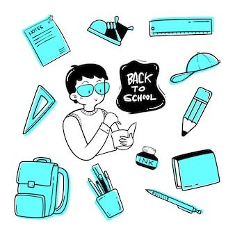 Disegnato a mano di nuovo a scuola doodle set di illustrazioni