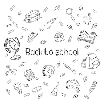 Disegnata a mano di nuovo a scuola set di icone in stile doodle