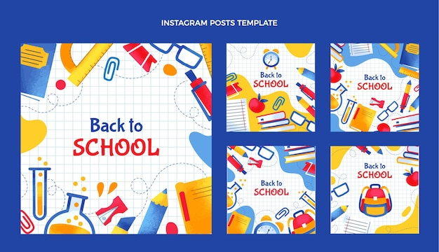 Disegnato a mano alla raccolta di post di instagram della scuola Vettore Premium