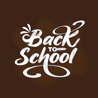 Disegnato a mano di nuovo a scuola scritta in sfondo marrone