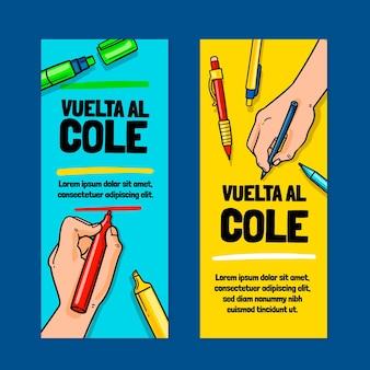 Set di banner verticali disegnati a mano per tornare a scuola