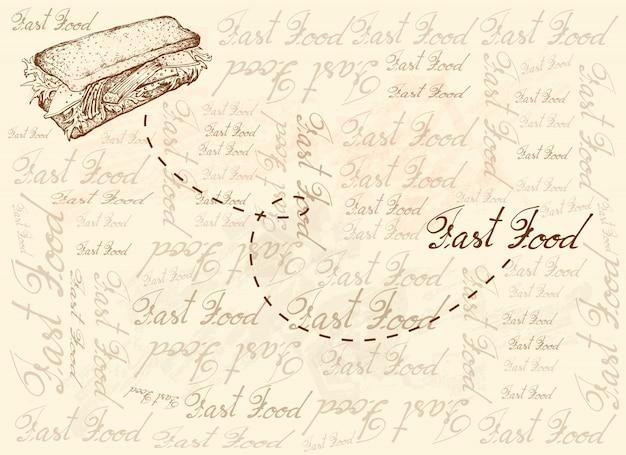 Fondo disegnato a mano del panino dell'insalata del bastone del granchio