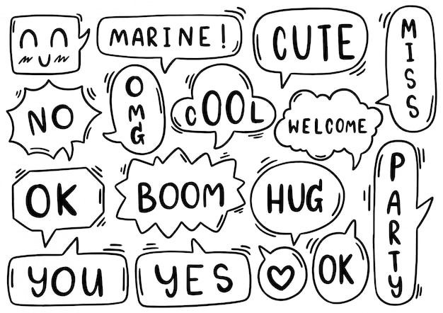 Sfondo disegnato a mano set di fumetto carino eith testo in stile doodle su sfondo bianco isolato astratto
