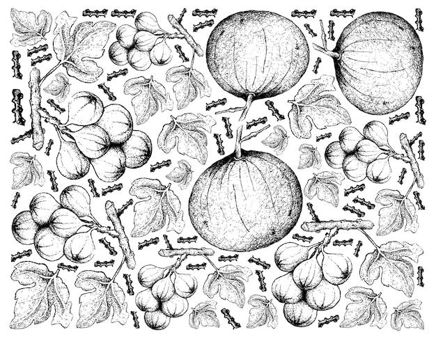 Sfondo disegnato a mano di dolce santol matura e grappolo fig