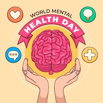 Giornata mondiale della salute mentale di sfondo disegnato a mano con cervello e mani