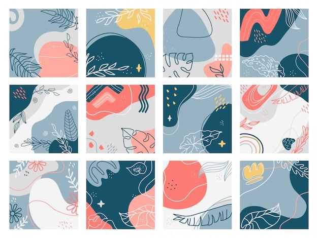 Sfondi disegnati a mano. doodle cartelli floreali astratti alla moda, banner di social media, set di illustrazione estetica contemporanea creativa. motivo floreale a mano libera, invito fiore carta da parati
