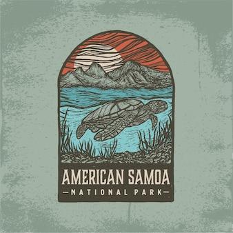 Distintivo disegnato a mano del parco nazionale delle samoa americane