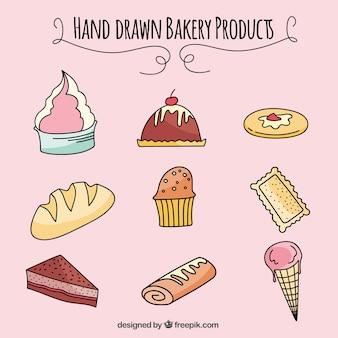 Prodotti da forno disegnati a mano