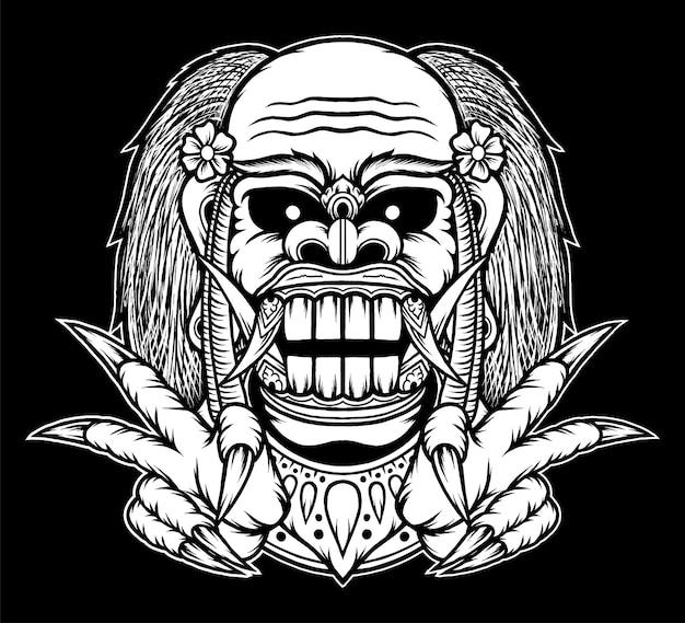 Illustrazione disegnata a mano della maschera di celuluk balinese. vettore premium
