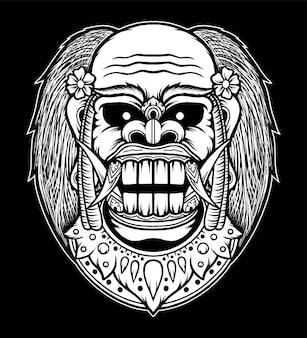 Illustrazione disegnata a mano del demone balinese. vettore premium