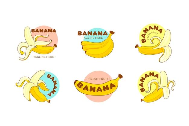 Collezione di modelli di logo banana disegnata a mano