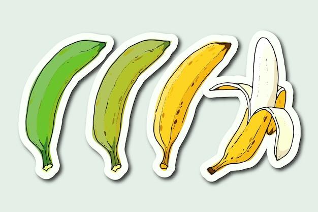 Adesivi di trasformazione banana disegnati a mano
