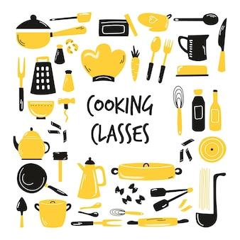 Banner disegnato a mano, sfondo con utensili da cucina, servizi. illustrazione vettoriale con stoviglie diverse.