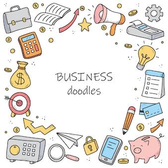 Bandiera disegnata a mano di elementi di affari e finanza