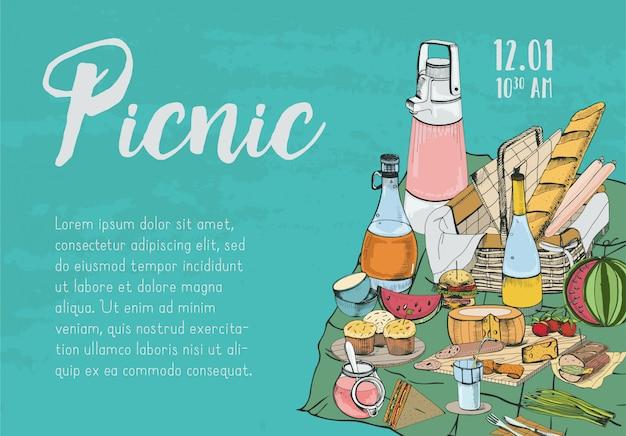 Banner, poster, annuncio picnic o modello di invito disegnati a mano