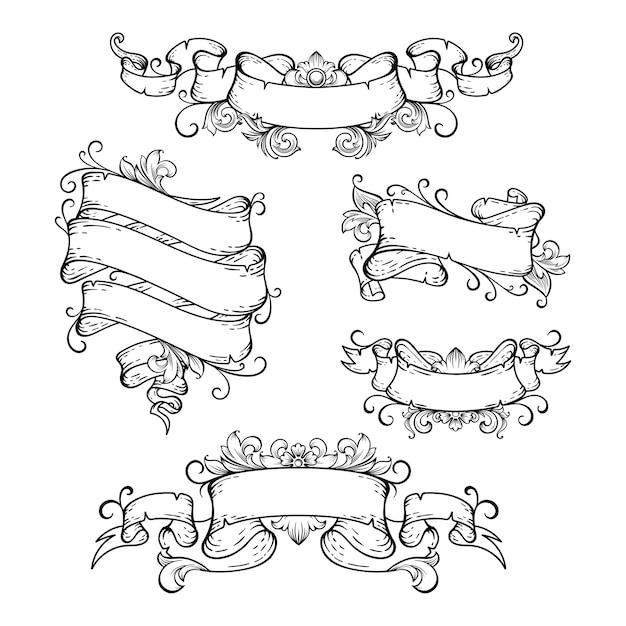 Banner disegnato a mano con barocco floreale
