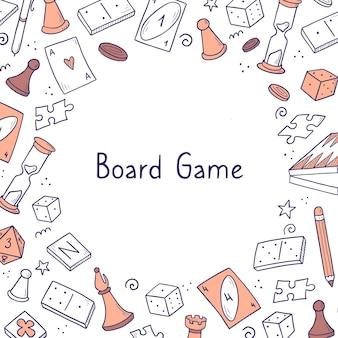 Modello di banner disegnato a mano con elemento di gioco da tavolo. stile di schizzo di doodle.