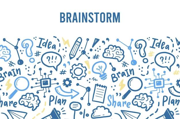 Modello di banner disegnato a mano con brainstorming, idea, elementi del cervello. stile di schizzo di scarabocchio.