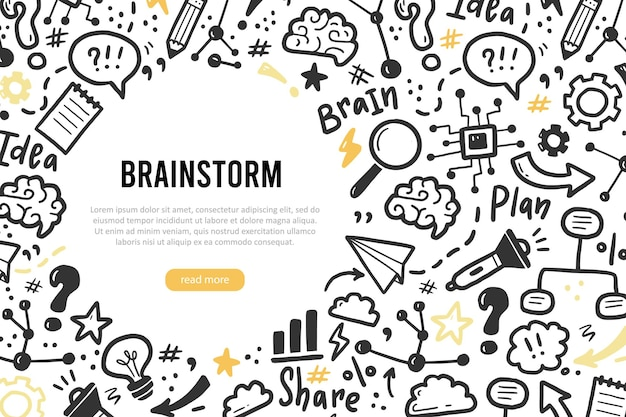 Modello di banner disegnato a mano con brainstorming, idea, elementi del cervello