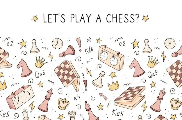 Modello di banner disegnato a mano con elementi di gioco di scacchi del fumetto. stile di schizzo di scarabocchio.