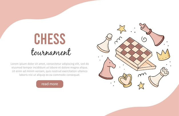 Modello di banner disegnato a mano con elementi di gioco di scacchi dei cartoni animati