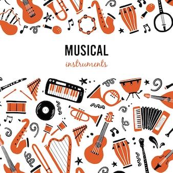 Modello di banner disegnato a mano con strumento musicale, chitarra, sassofono. scarabocchiare lo sfondo dello schizzo