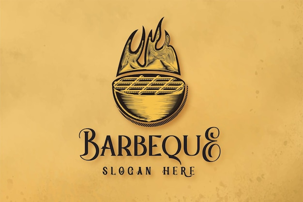 Logo di griglie per barbecue disegnato a mano designs inspiration