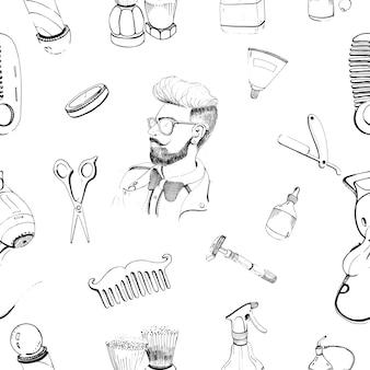Modello senza cuciture barbiere disegnato a mano con accessori pettine, rasoio, pennello da barba, forbici, asciugacapelli, asta da barbiere e spray per bottiglie.