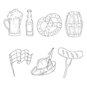 Barile disegnato a mano, vetro, bottiglia, pretzel, salsiccia, bandiera tedesca nello stile di abbozzo.