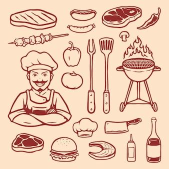 Elemento per barbecue disegnato a mano