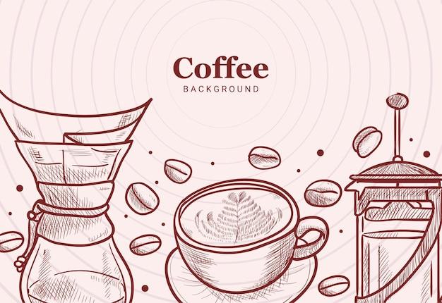 Fagioli disegnati a mano, tazza, stampa francese, chemex, illustrazione del gocciolatore
