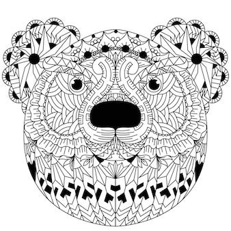 Disegnato a mano di orso in stile zentangle