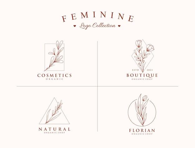 Modelli di raccolta di logo belli e botanici disegnati a mano