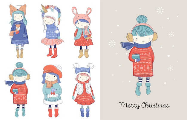 Collezione di belle ragazze invernali carine disegnate a mano. auguri di buon natale Vettore Premium
