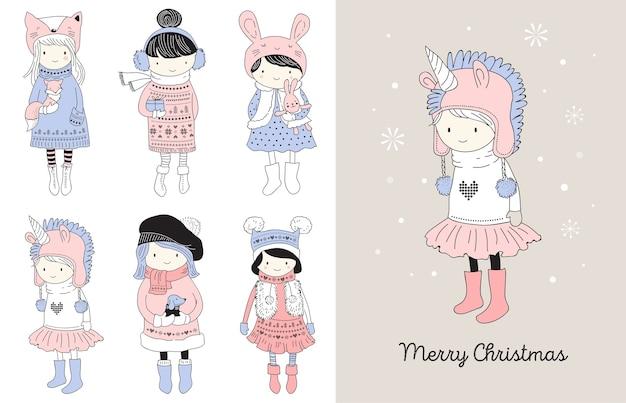 Collezione di belle ragazze invernali carine disegnate a mano. auguri di buon natale