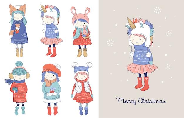 Collezione di belle ragazze invernali carine disegnate a mano.