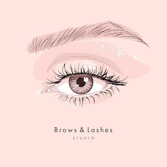 Bello occhio femminile disegnato a mano con ciglia e sopracciglia nere lunghe