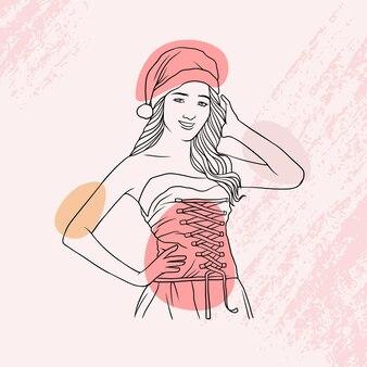 Bella ragazza disegnata a mano in abito natalizio in stile arte linea