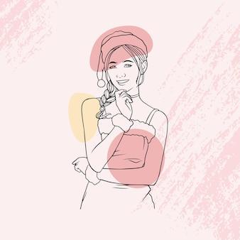 Bella ragazza disegnata a mano in stile in abito natalizio in stile arte linea