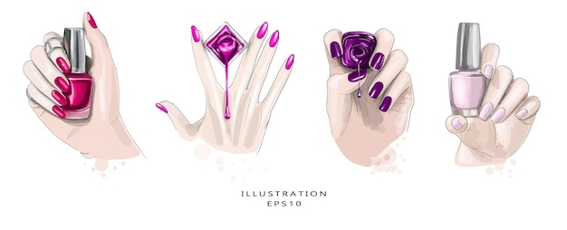 Abbozzo di bella manicure disegnato a mano. set di quattro schizzi.