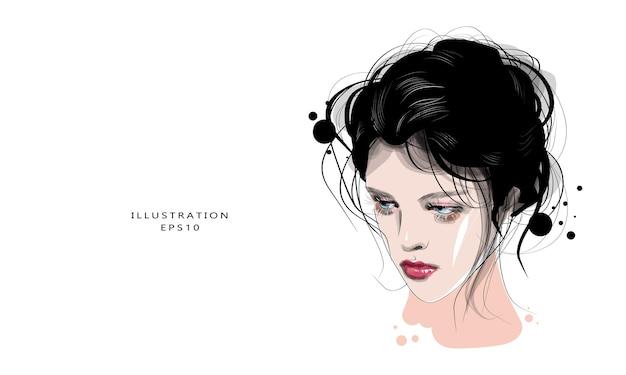 Disegnata a mano bella giovane donna faccia schizzo alla moda ragazza glamour stampa illustrazione di moda per artista di trucco design salone di bellezza
