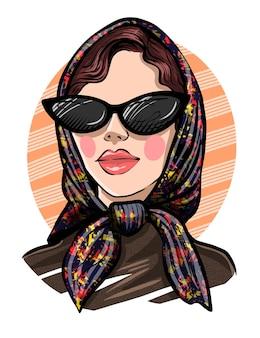 Bella giovane donna disegnata a mano. look donna alla moda. la ragazza con il velo. schizzo.