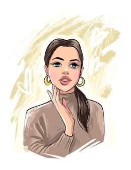Bella giovane donna disegnata a mano. look donna alla moda. schizzo.