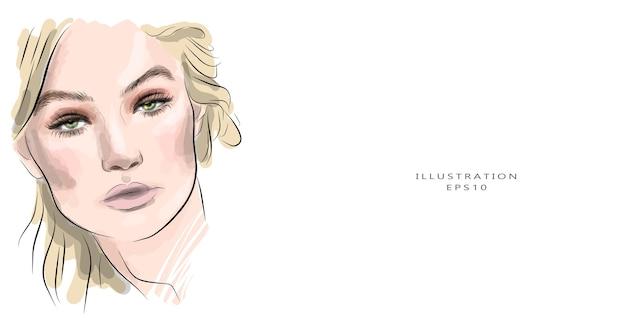 Schizzo del viso di bella giovane donna disegnata a mano