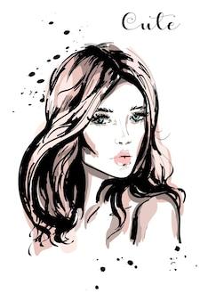 Bella giovane donna disegnata a mano con i capelli lunghi