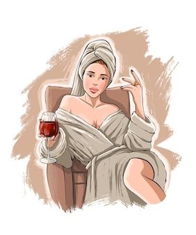 Bella giovane donna disegnata a mano con vino.