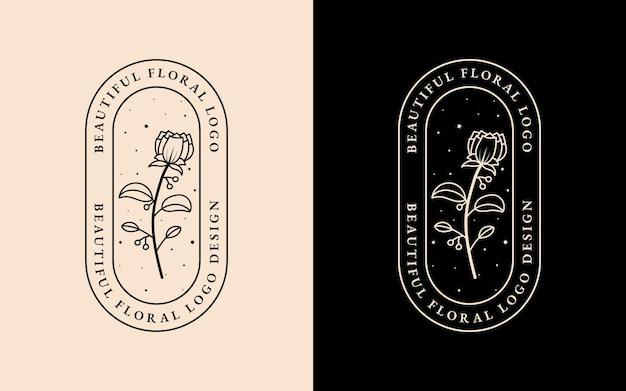 Bellezza disegnata a mano e cornice logo floreale