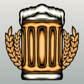 Bicchieri di birra disegnati a mano disegnati a mano