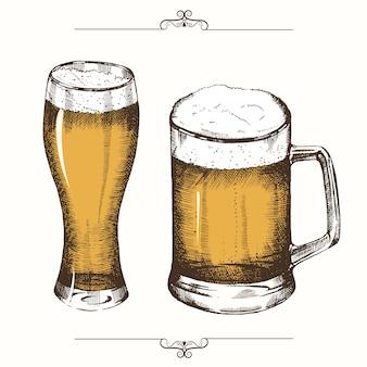 Birra disegnata a mano isolata. schizzo, incisione. festa della birra