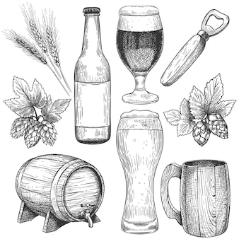 Birra disegnata a mano. schizzo bicchieri da birra, boccali e botte, bottiglia. luppolo, malto e orzo, oggetti per menu da pub bevande incisione set vettoriale. elementi isolati di progettazione del caffè. bevanda alla birra artigianale